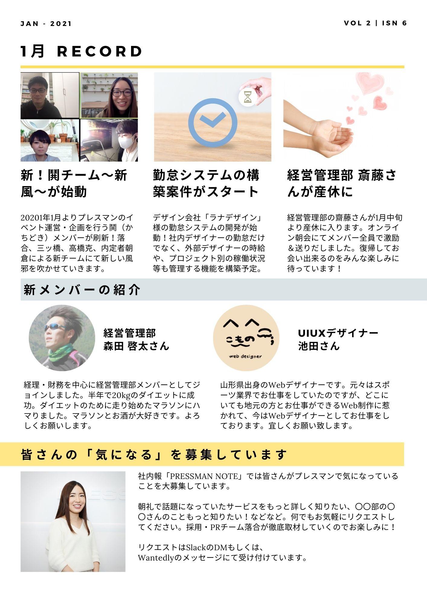 社内報 1月トピックス 新メンバー